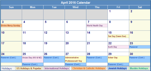 April 2016 Printable Calendar Cute, April 2016 Blank calendar Free, April 2016 Calendar with Holidays, April 2016 Calendar Word Excel PDF Template download Free