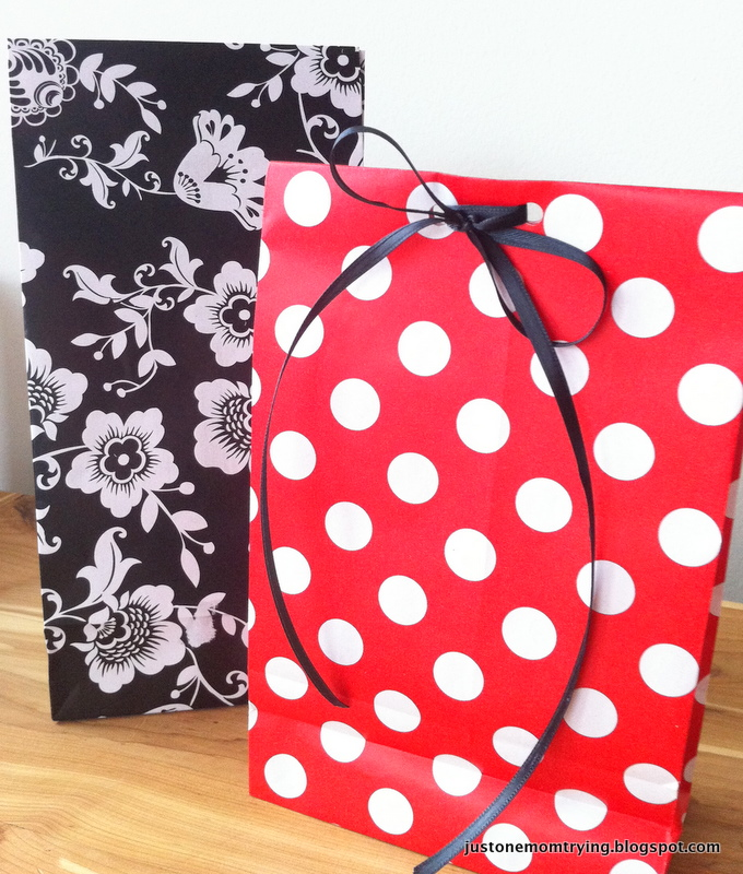 diy gift bags from wrapping paper just one mom trying. Black Bedroom Furniture Sets. Home Design Ideas