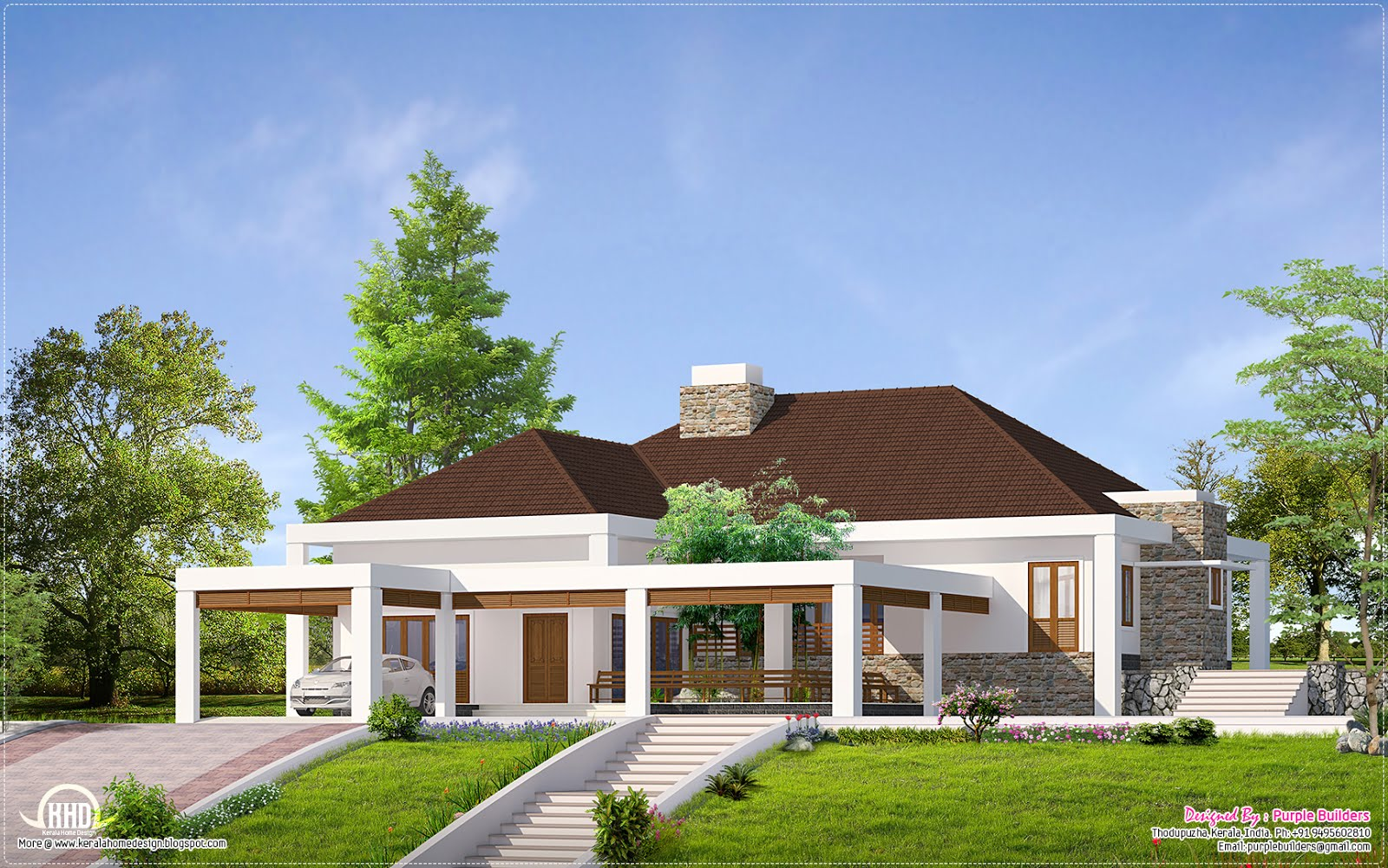 Single floor home with 39 nadumuttam 39 kerala home design for Luxury single story home designs