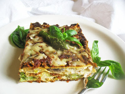 vegetarian asparagus lasagna with pesto