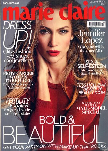 Actress, Singer @ Jennifer Lopez - Marie Claire UK ,December 2015