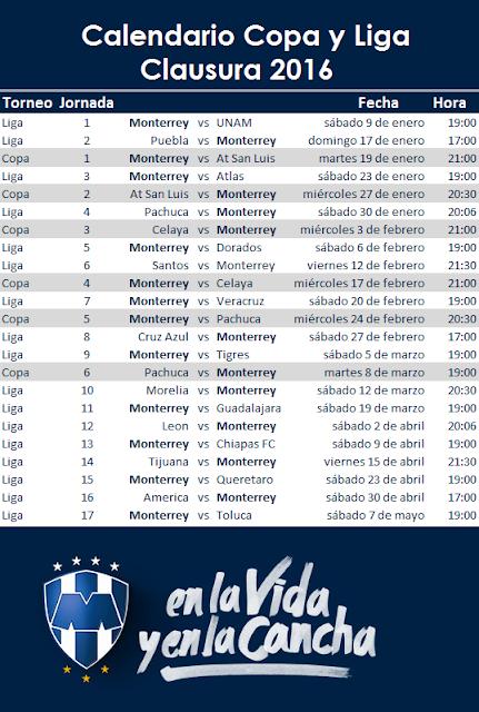 Calendario Rayados Clausura 2016 y CopaMX ~ Apuntes de Futbol