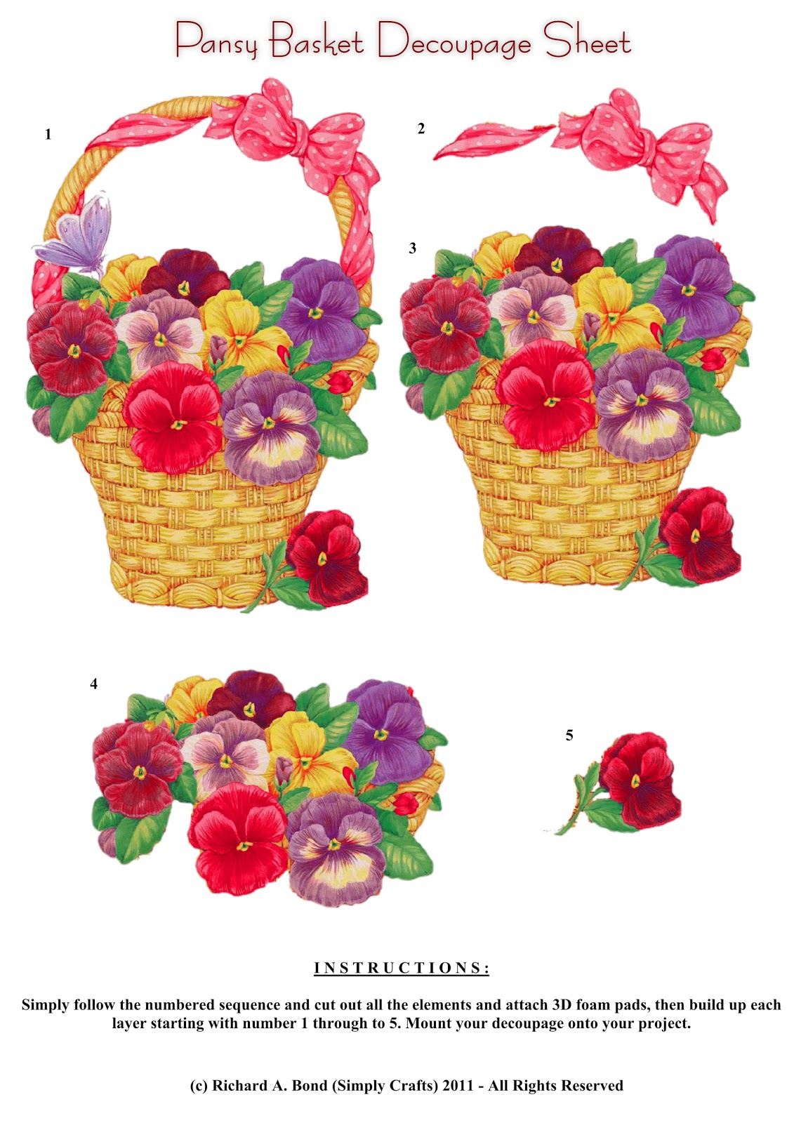 This lovely pansy basket decoupage design would suit projects for all ...