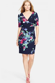 Lauren Ralph Lauren Floral Print Surplice Jersey Sheath Dress (Plus Size)