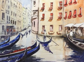 Gondola,Venice, Italy Seascapes Watercolor Painting on paper Popular Classic Postcard or Pochade size 6 x 8 inches or 15 x 20 cm , USD $95 Ideal as gift, hanging on its own or in groups due to small size