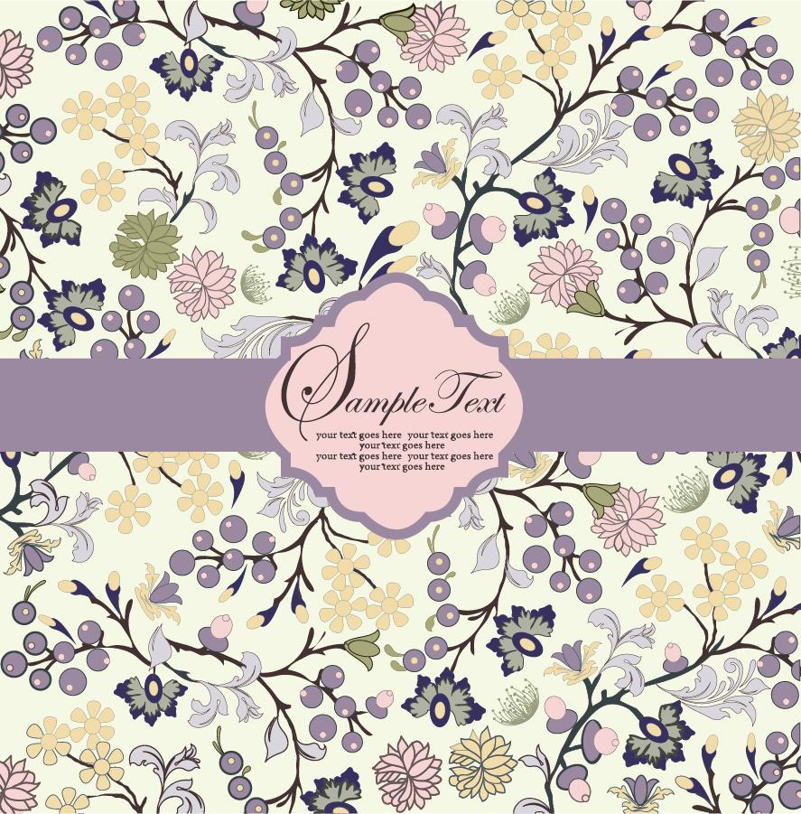 帯付きの美しい花柄表紙見本 Beautiful flowers patterns background イラスト素材