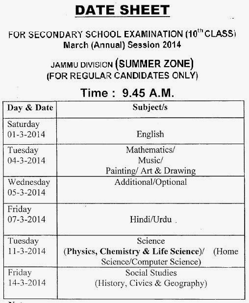 JKBOSE 10th Class March Annual Session Summer Zone Regular Candidates Date Sheet 2014