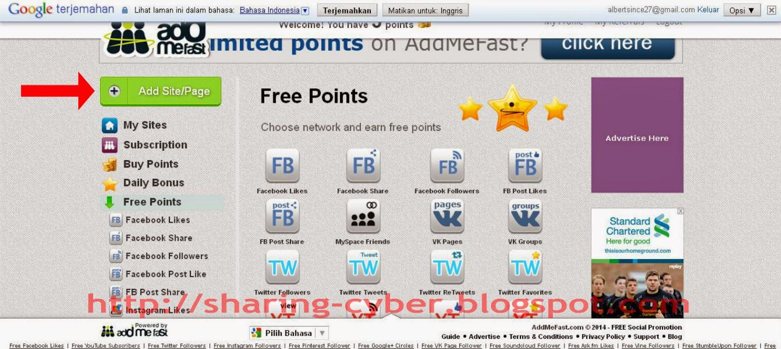 Cara Mudah Menambah Like Fanpage Facebook , Follower Twitter di Addmefast