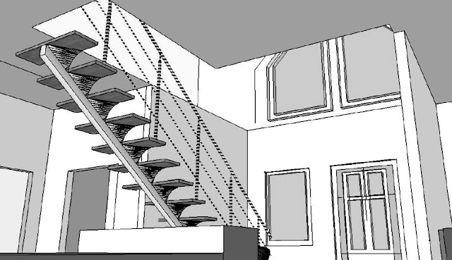 plan escalier moderne limon central