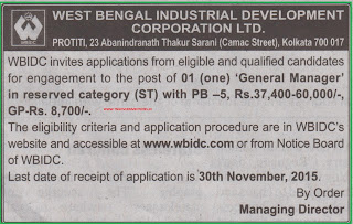 Applications are invited for GM Post in West Bengal Industrial Corporation