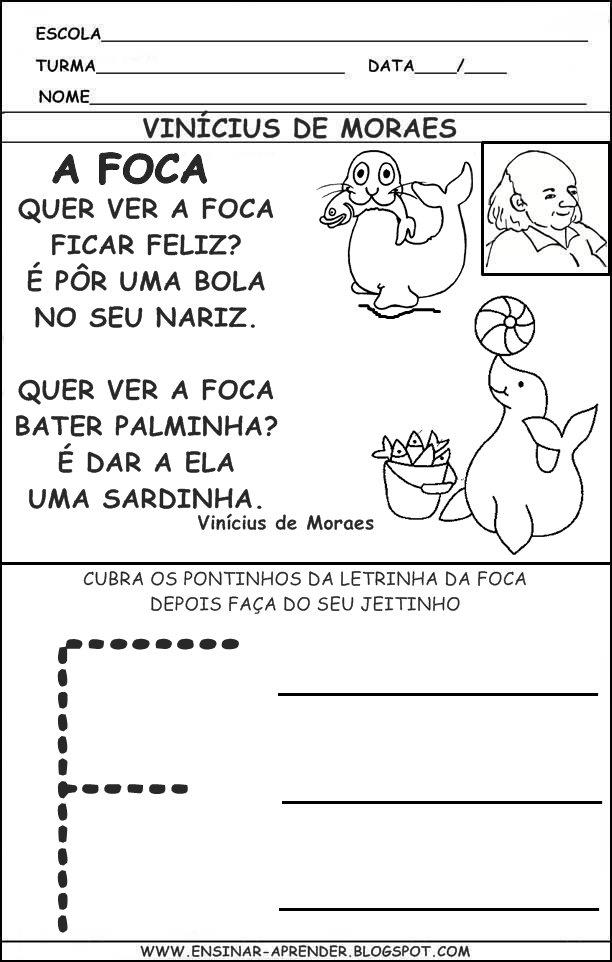 Atividade Do Poema A Foca Vin  Cius De Moraes