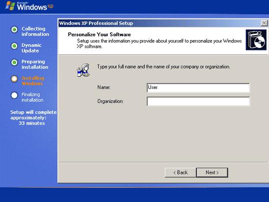 memasukan nama pada proses install