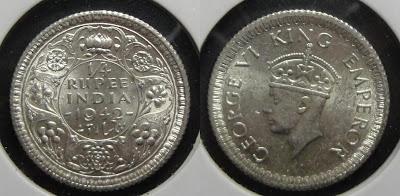 george vi quarter rupee 1942