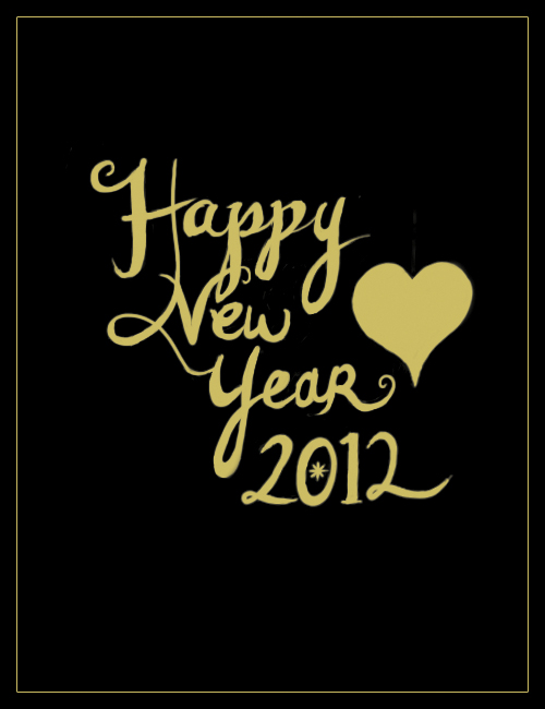 Happy New Year 2012 Calligraphy, Handwritten Illustration, Happy New Year's Illustration Design