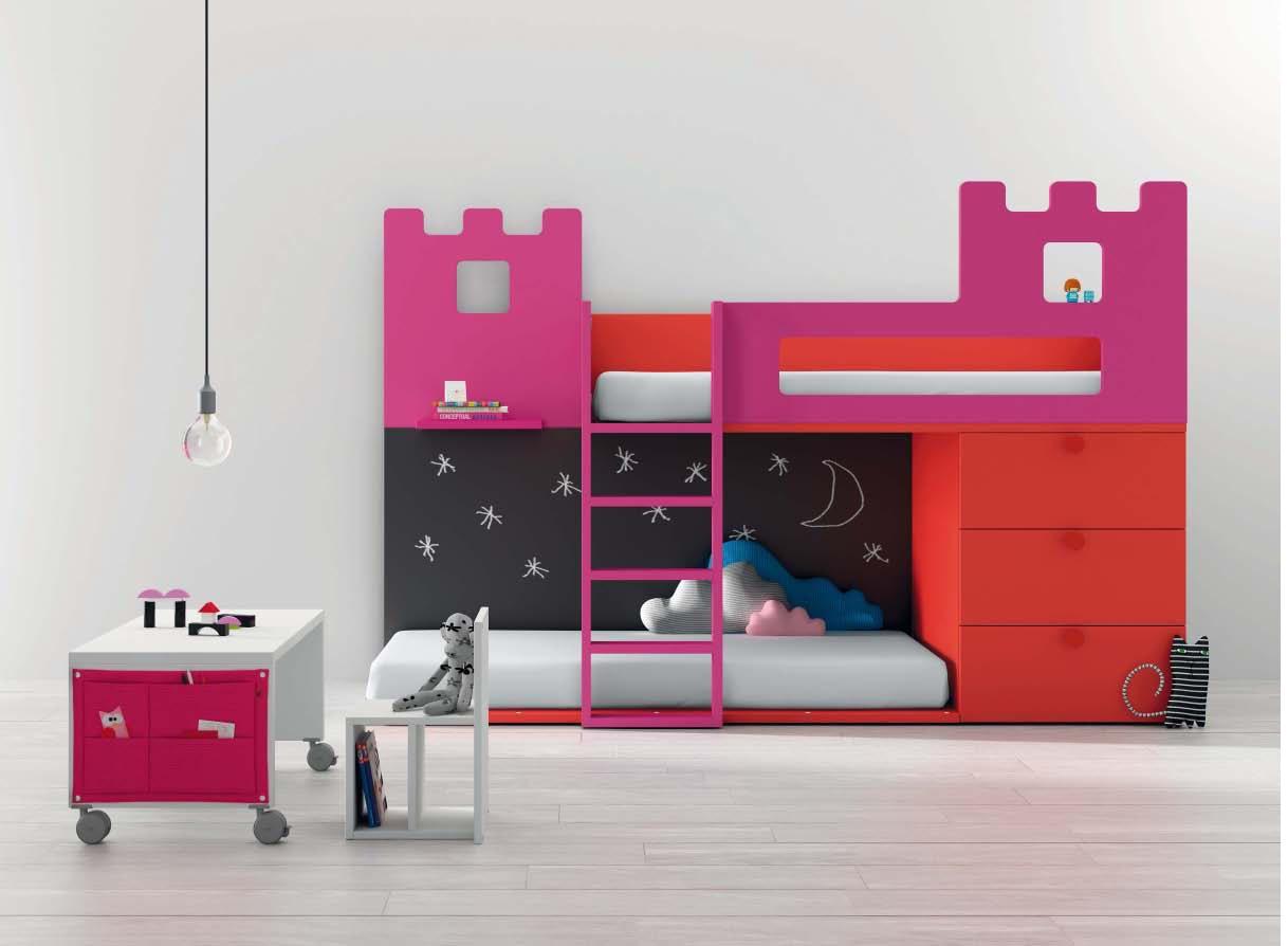 Litera con 3 camas combinada en blanco y rosa - Dormitorios infantiles modernos ...