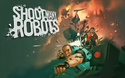 Portada del juego de Xbox Arcade, Shoot Many Robots