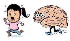 Cartoon Brain chasing a Cartoon Girl