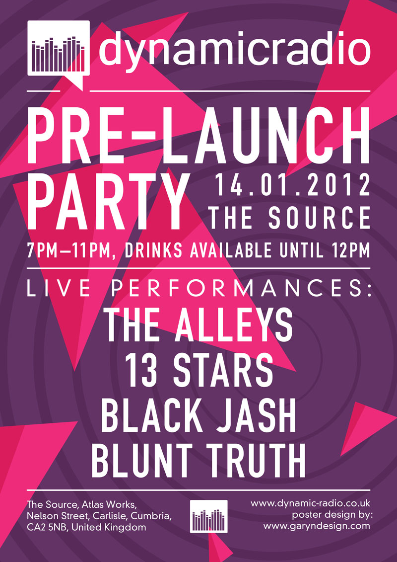 Dynamic Radio: Pre-Launch Party Poster