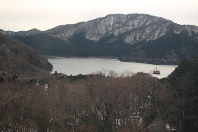 A closer look at Lake Ashi during the cablecar ride at Owakudani Volcanic Hakone Valley in Japan