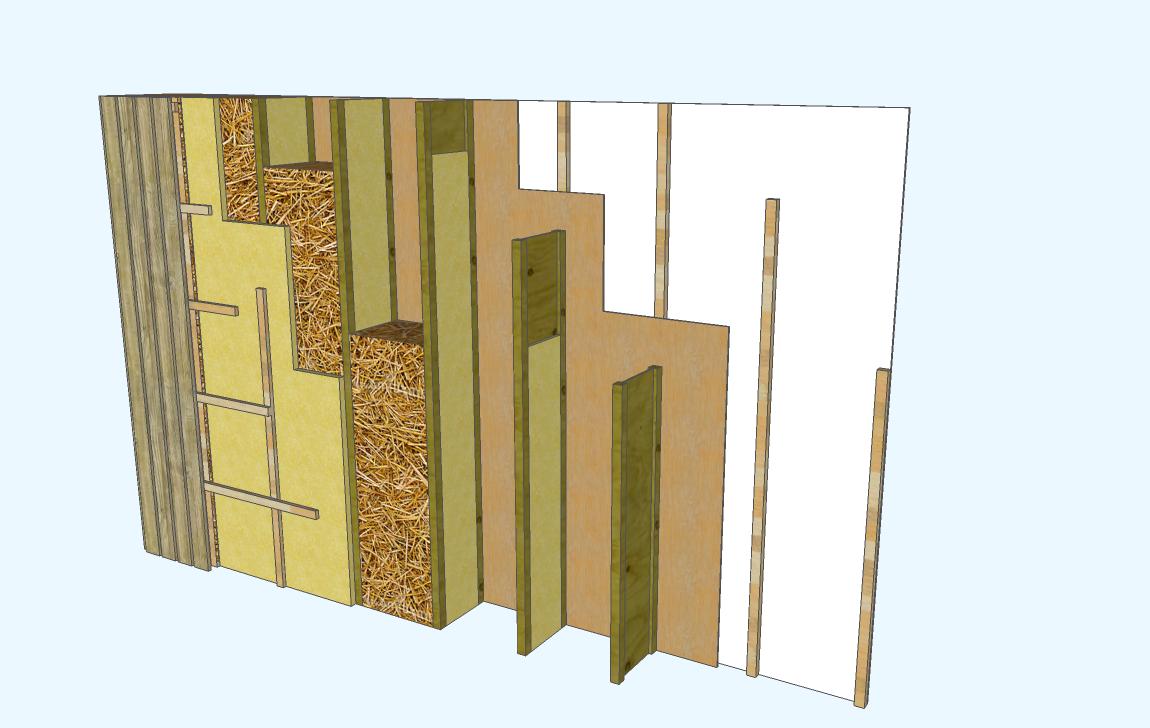 Coupe de mur caisson paille avec bardage bois extérieur ~ Coupe Mur Ossature Bois