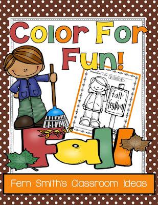 Fern Smith's Classroom Ideas Fall Fall Fun ~ Color for Fun at Fern Smith's Classroom Ideas TeacherspayTeachers Store.