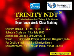 NDT Level II Training from 15 July15 at Bangalore, India - world class training Click on Image
