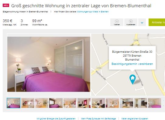 Gro z gige Single Wohnung im Bremer Viertel zu vermieten