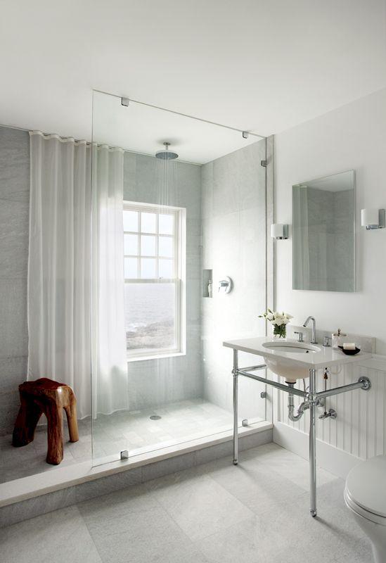 Guida tende tenda leggera per il bagno moderno for New england style bathroom ideas