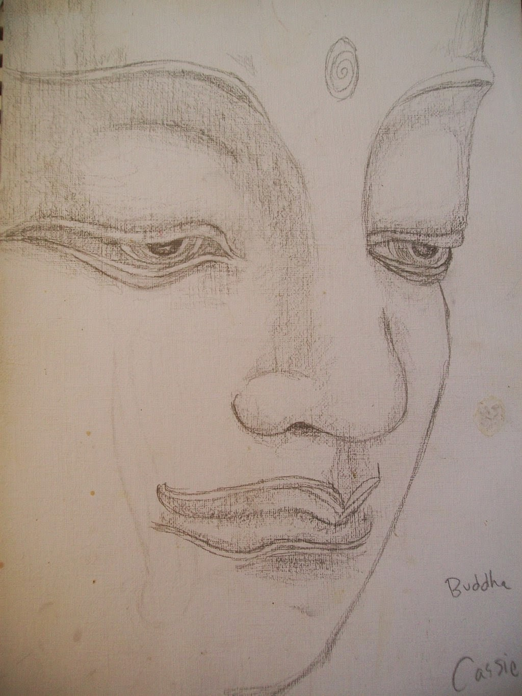 Sketch of buddha pencil drawing