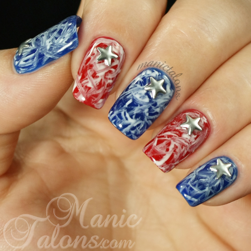 Red white and blue grunge manicure