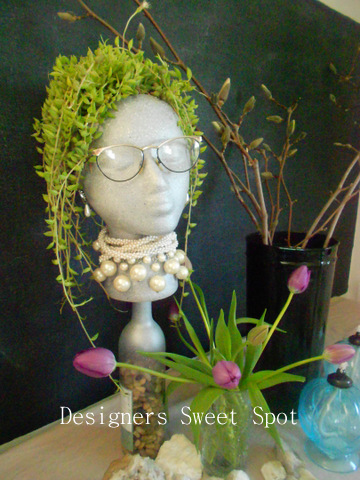 Garden head with succulents @designerssweetspot.com