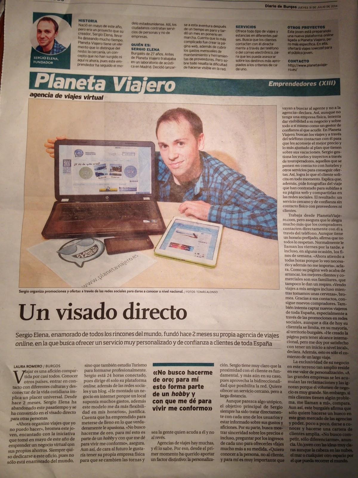 Planeta Viajero en el Diario de Burgos