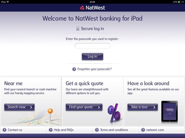 Natwest mobile app iPad Home Screen