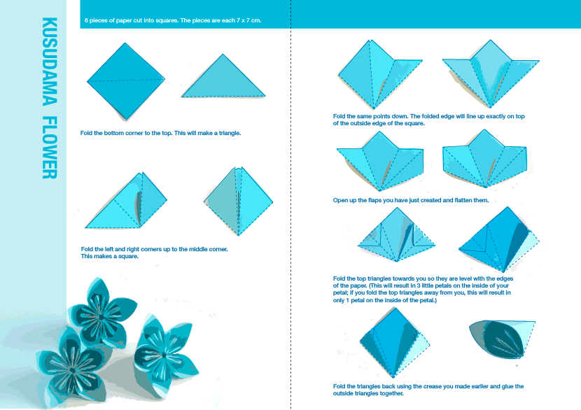 how to do an origami flower bubble point