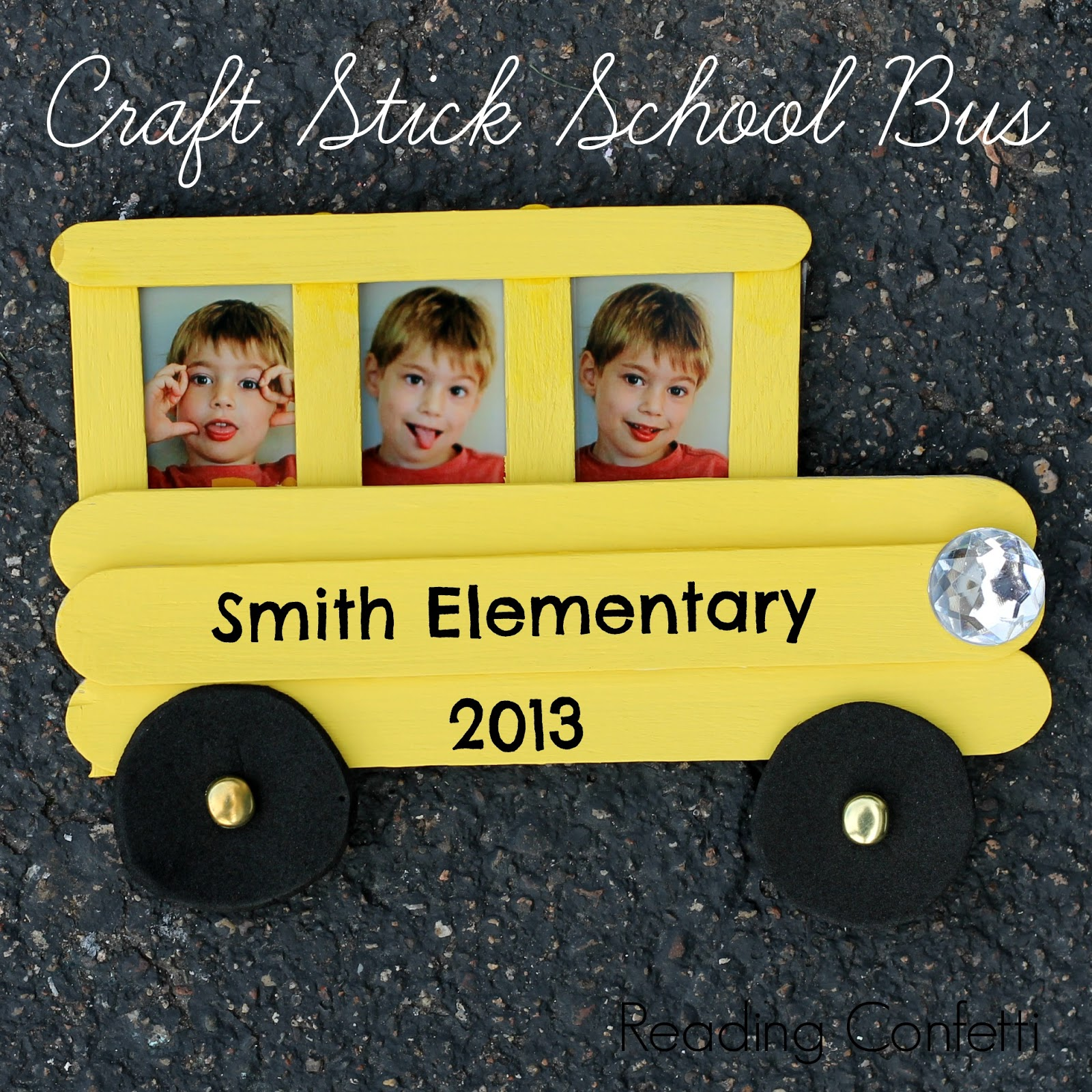 Craft stick school bus frame and back to school books reading this craft stick school bus frame is easy for kids to make and a fun way jeuxipadfo Gallery