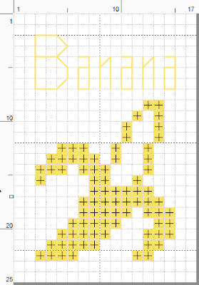Free banana cross stitch pattern. For personal use only.  (c) Erin E. Turowski, 2012.