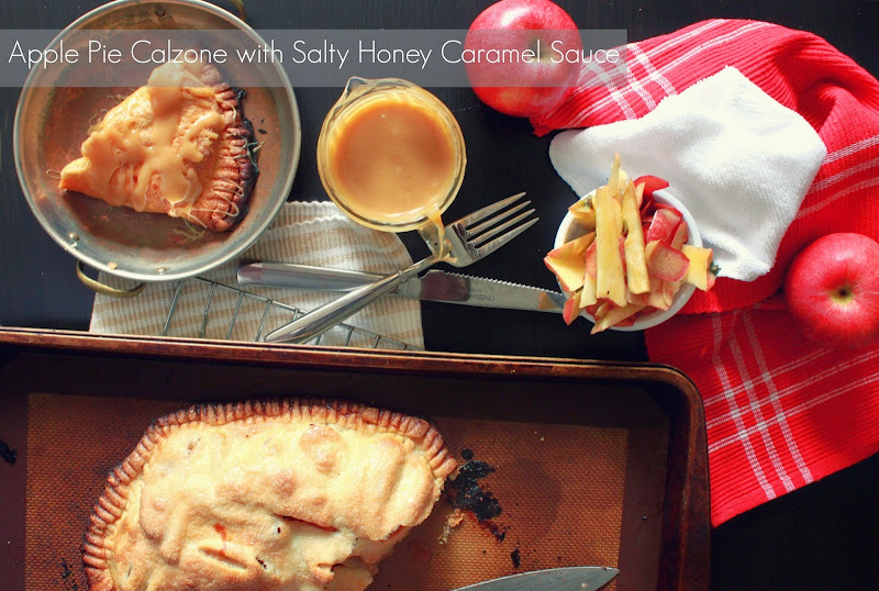 apple pie calzone and salty honey caramel sauce