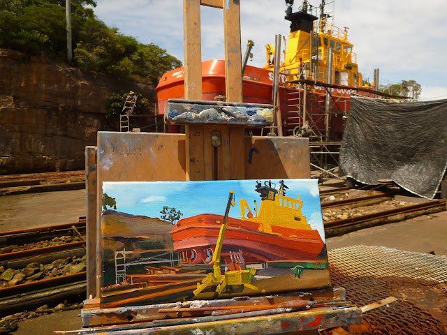 plein air oil painting of Sydney Ports tug 'Shirley Smith' by artist Jane Bennett