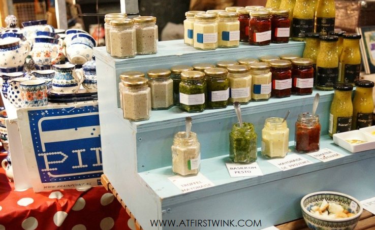pesto, tapenade, mayonnaise sold at the Swan market Rotterdam