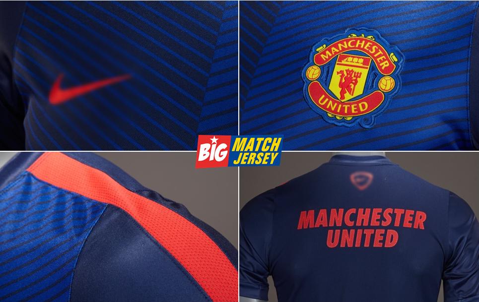 Detail Jersey Training Manchester United Biru Oficial 2014 2015 Grade Ori