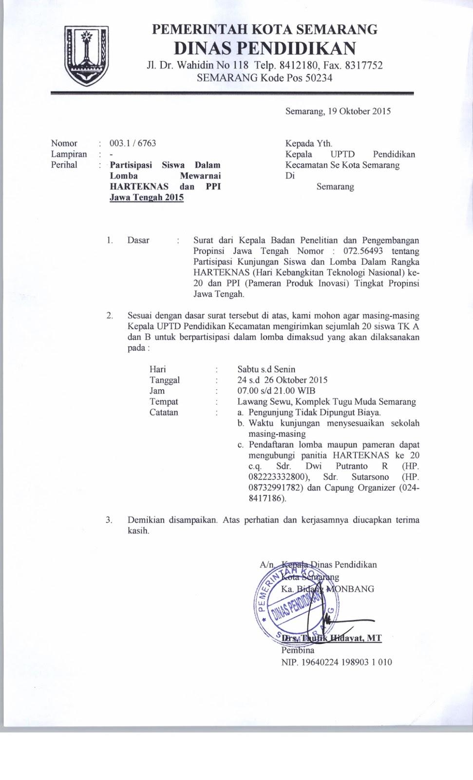Uptd Pendidikan Kecamatan Genuk Lomba Mewarnai Harteknas