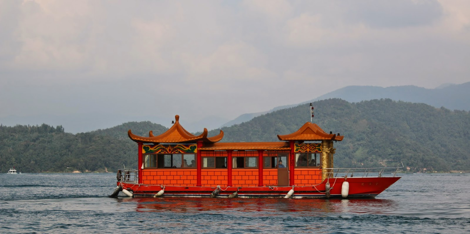 A beautiful Chinese Junk Boat can be seen along Sun Moon Lake in Taiwan