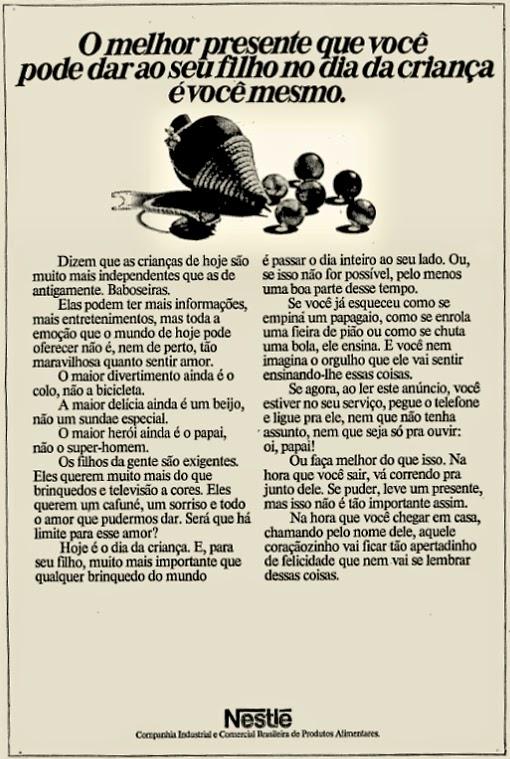nestle. década de 70. os anos 70; propaganda na década de 70; Brazil in the 70s, história anos 70. Oswaldo Hernandez;