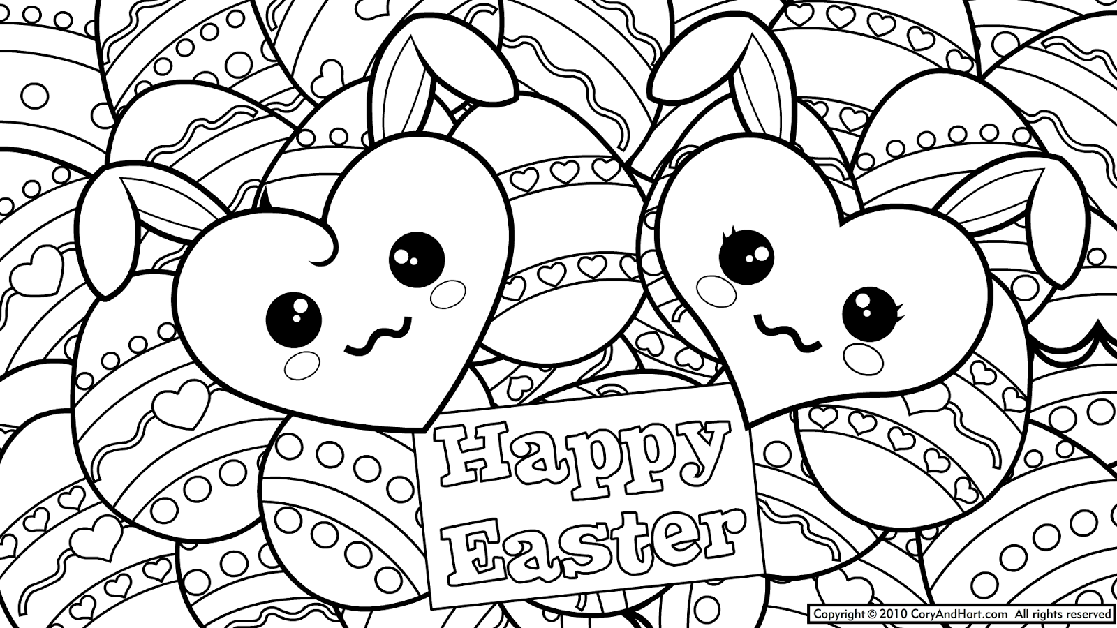 5 Easter Eggs Coloring Pages Printable