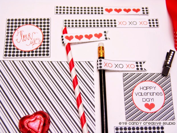 valentines gift tags, straw flags, red hearts, free valentines printables, XO, black and white
