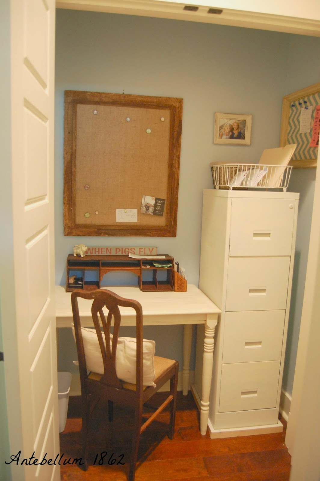 Antebellum 1862 how to turn a junky closet into a home office - An office turned into a home ...