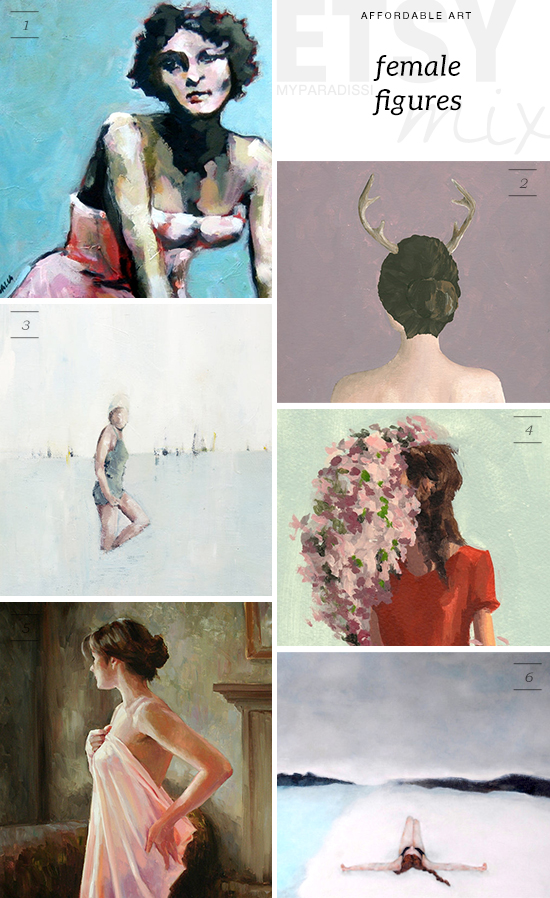 Affordable female figure art paintings for under $70 via Etsy | My Paradissi