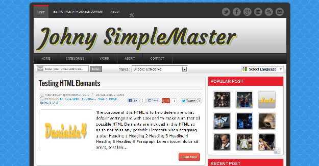 Johny Simple Master, freemium blogger template
