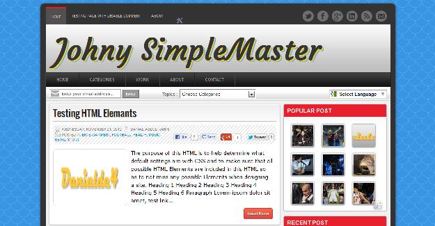 Johny Simple Master, freemium blogger template