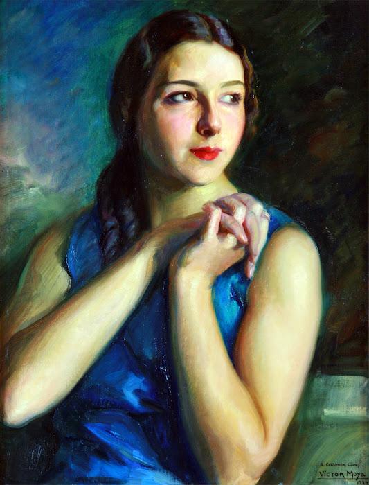 Victor Moya Calvo, Pintor español, Pintores Valencianos, Retrato de azules, Retrato de Carmen Civil, Retratos de Victor Moya Calvo